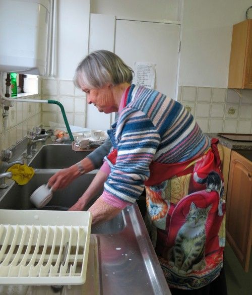 Val Thomas was up to her elbows in soapy water all morning!