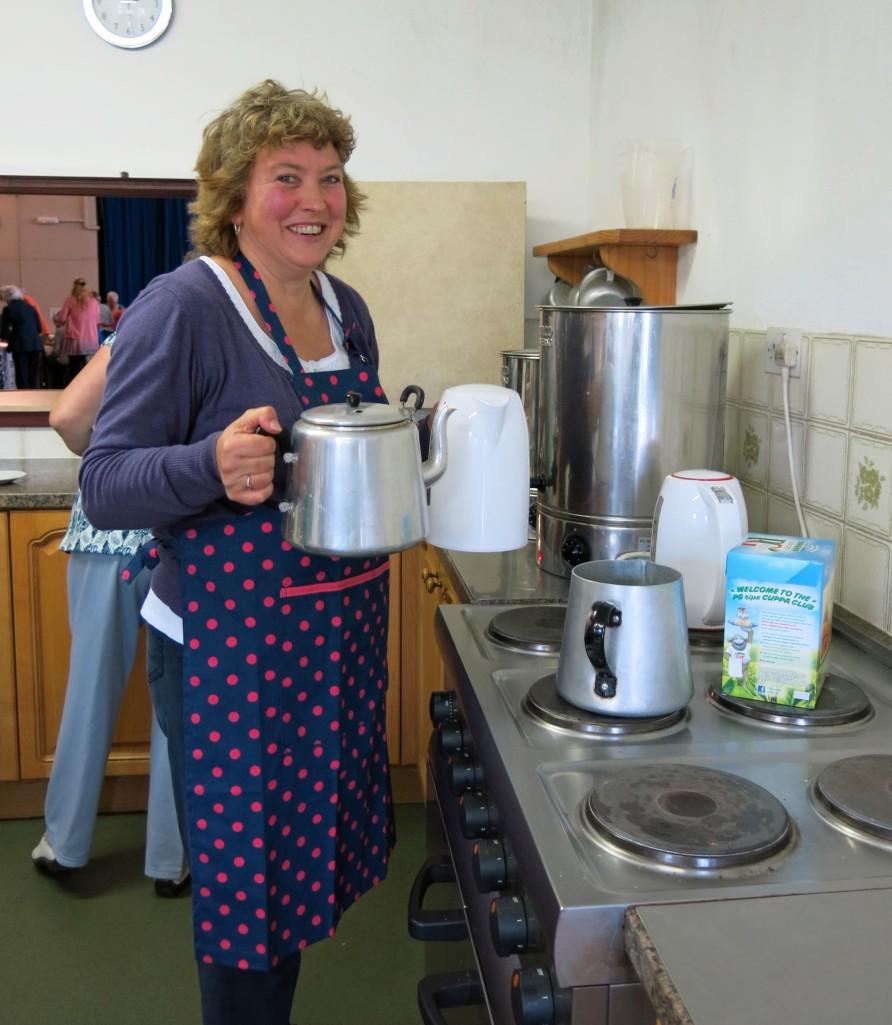 Julie Blewett wielded the teapots like a pro.
