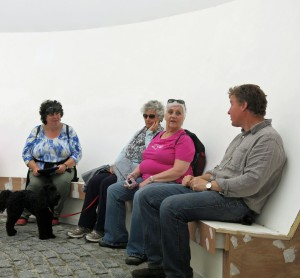 Sue Knights, Ruby, Jane Twose and Pam Smith listen to Neil Armstrong talking about the Skyspace.