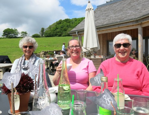Jane Twose, Tracy (Pam Smith's sister) and Pam Smith enjoy the sunshine.