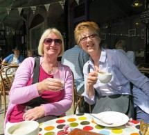 Sue Badcock and Wendy Allen enjoy a little coffee break in Tavistock.
