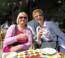 Sue Badcock and Wendy Allen enjoy a little coffee break in Tavistock.
