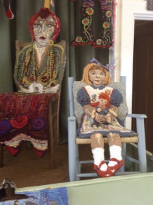 One of the amazing rag rug chairs  on display