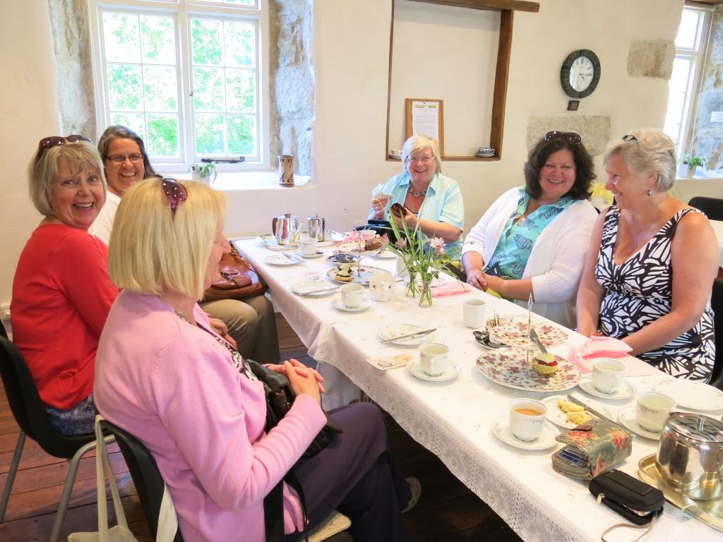 All of us enjoying our cream tea (Alison Latham, Lis Davies, Sue Badcock, Kathy Merrett, Helen Kestle and Gail Allen)