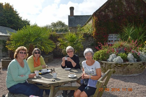Julie, Mary, Val and Shirley enjoy a coffee at Trelissick