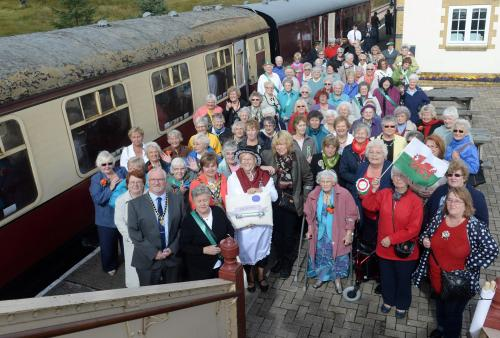 Members of the Gwent Federation prepare to take the centenary baton on the train from Furnace Sidings to the Big Pit in Blaenavon.