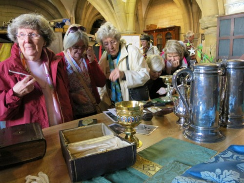 Hilda, Sue and Di examine some of the Cathedral's treasures