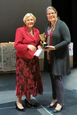 NFWI President Janice Langley presents Alison Latham with the West Briton Cup