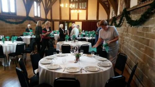 Warwickshire Federation members were busy setting up for lunch in the Great Hall at Lord Leycester Hospital.