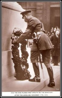 George V places a wreath at the cenotaph on 11 November 1919.