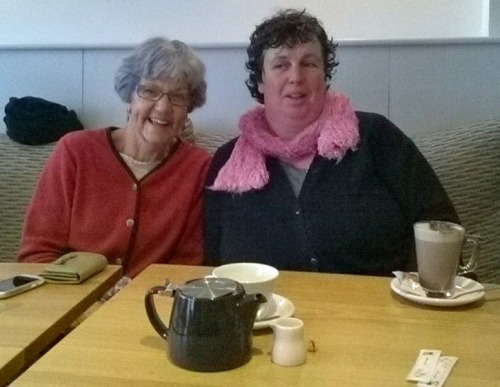 Coffee and hot chocolate brings a smile to the faces of Shirley Battle and Sue Knights.