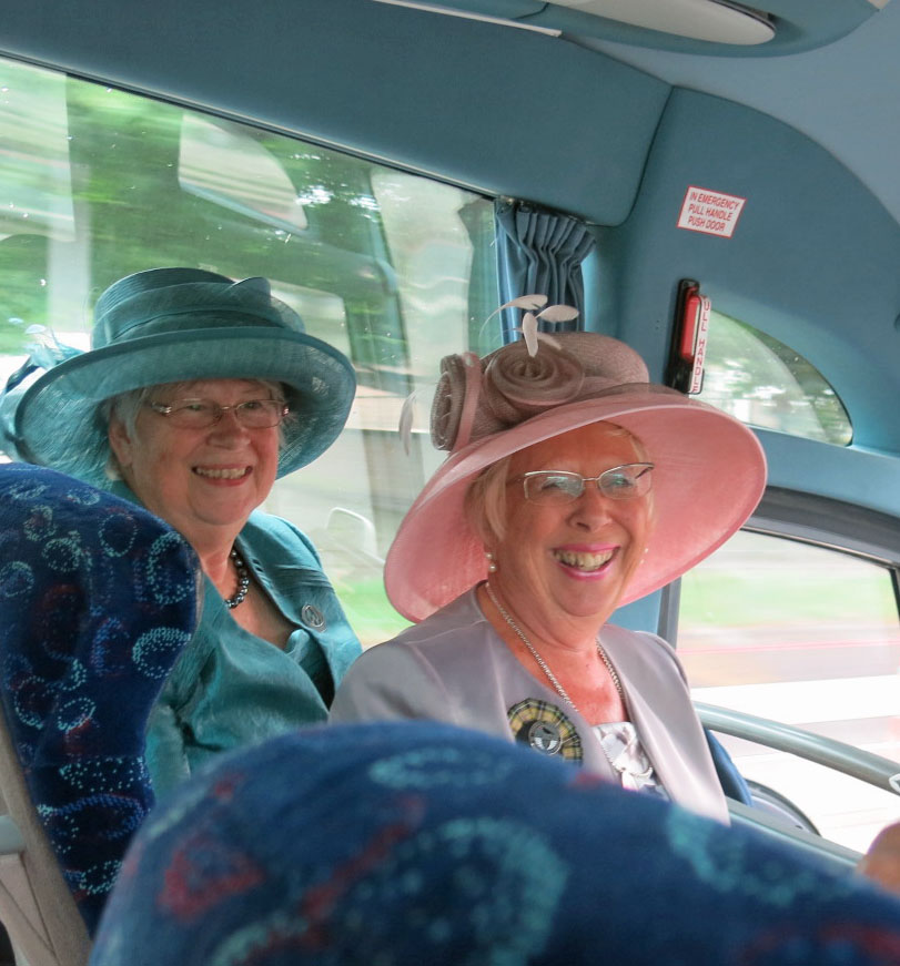 Kathy Reed and Barbara Corbett looking lovely in their hats