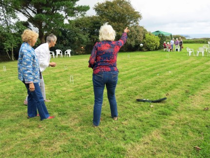 Colleen, Liz and Pat have a go at boules