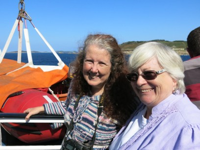 Ruth and Kathy enjoying some sunshine on the Scillonian.