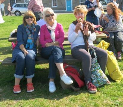Karrie, Lis and Hazel enjoying a pre-ferry ice cream.