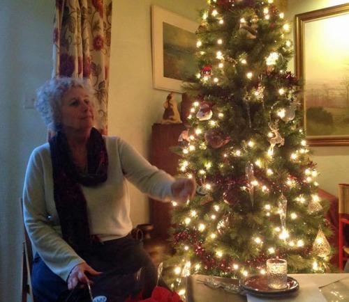 Jane admires Julia's Christmas tree