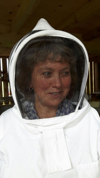 Julie looks at home in her bee-suit!