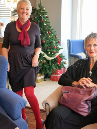 Di shows off her jolly red tights